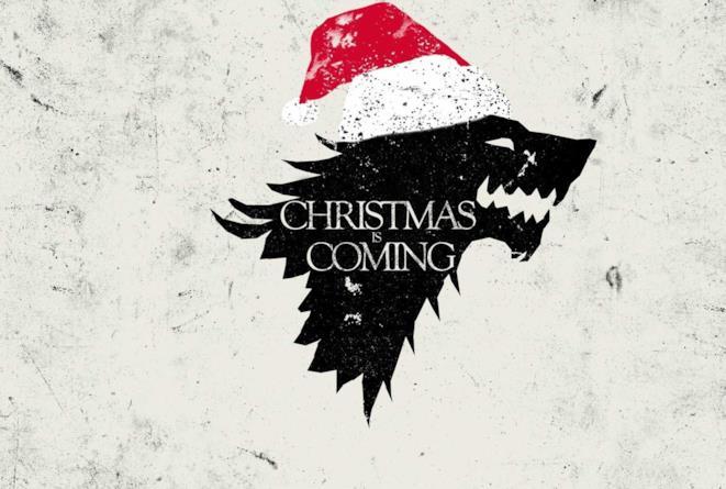 Stemma degli Stark con cappellino di Natale