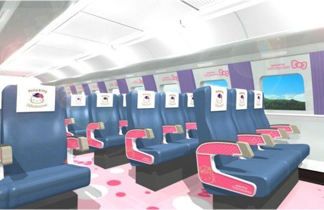 Dettagli dei sedili dello Shinkansen a tema Hello Kitty