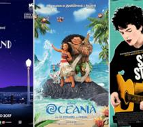 Le locandine dei film musical La La Land, Oceania e Sing Street