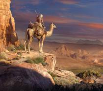 Bayek cavalca un cammello in Assassin's Creed Origins