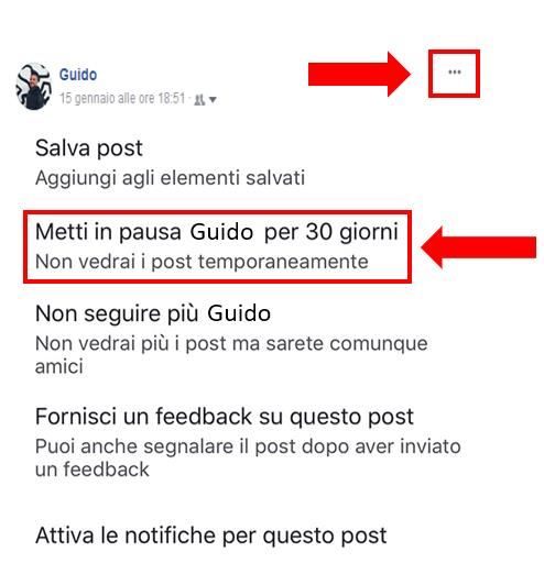 Tutorial che mostra come mettere in pausa un profilo, un gruppo o una Pagina Facebbok per 30 giorni