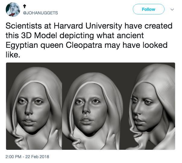 Cleopatra come Lady Gaga nel modello 3D