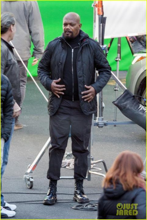 Samuel L. Jackson sul set tra una ripresa e l'altra