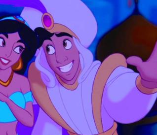 Aladdin e Jasmine sul tappeto volante