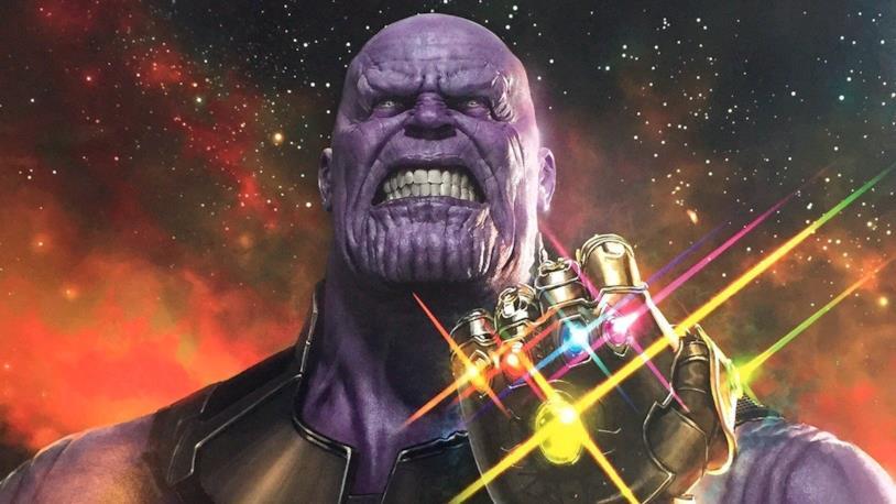 Il villain Thanos nel poster promozionale del film Avengers: Infinity War