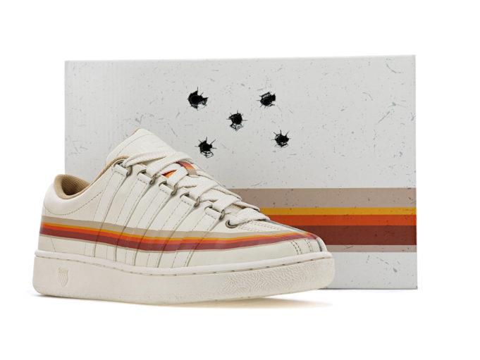 Un primo piano delle scarpe dedicate a Breaking Bad