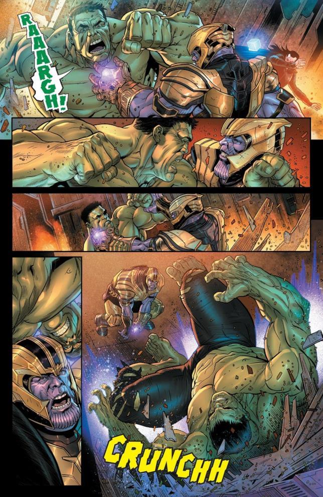 HUlk combatte contro Thanos, che fa uso delle Gemme