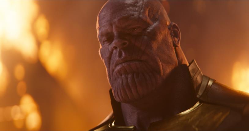 Un primo piano di Thanos, in una sequenza di Avengers: Infinity War
