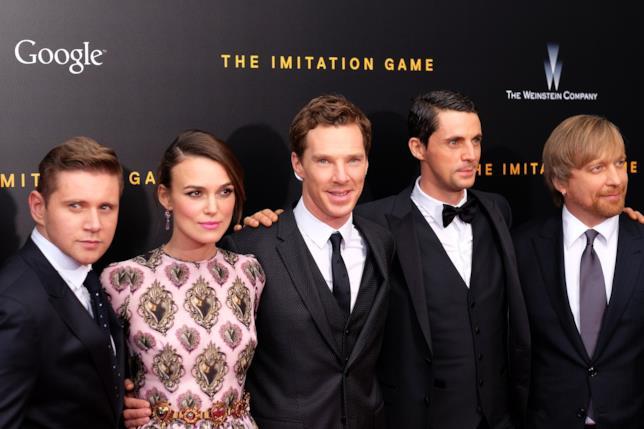 Allen Leech, Keira Knightley, Benedict Cumberbatch, Matthew Goode e il regista Morten Tyldum