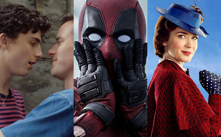 Immagini tratte da Call Me By Your Name, Deadpool 2, Mary Poppins Returns