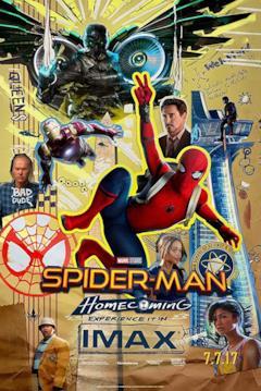 Un collage con tutti i personaggi di Spider-Man: Homecoming