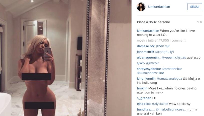 Scatto di Kim Kardashian nuda postato su Instagram