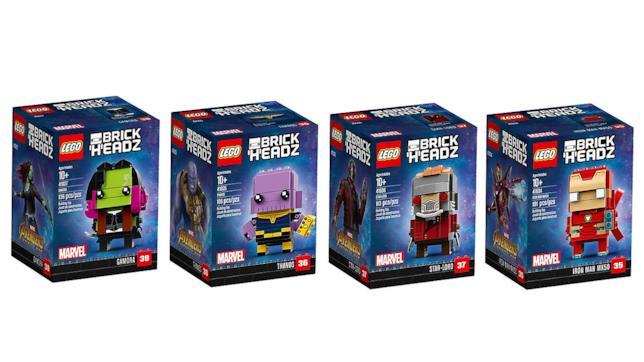 Dettagli dei box dei set LEGO BrickHeadz di Iron Man, Thanos, Star-Lord e Gamora