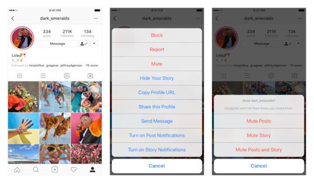Dettagli su come attivare la funzione Mute di Instagram dal profilo che si è decisi di silenziare