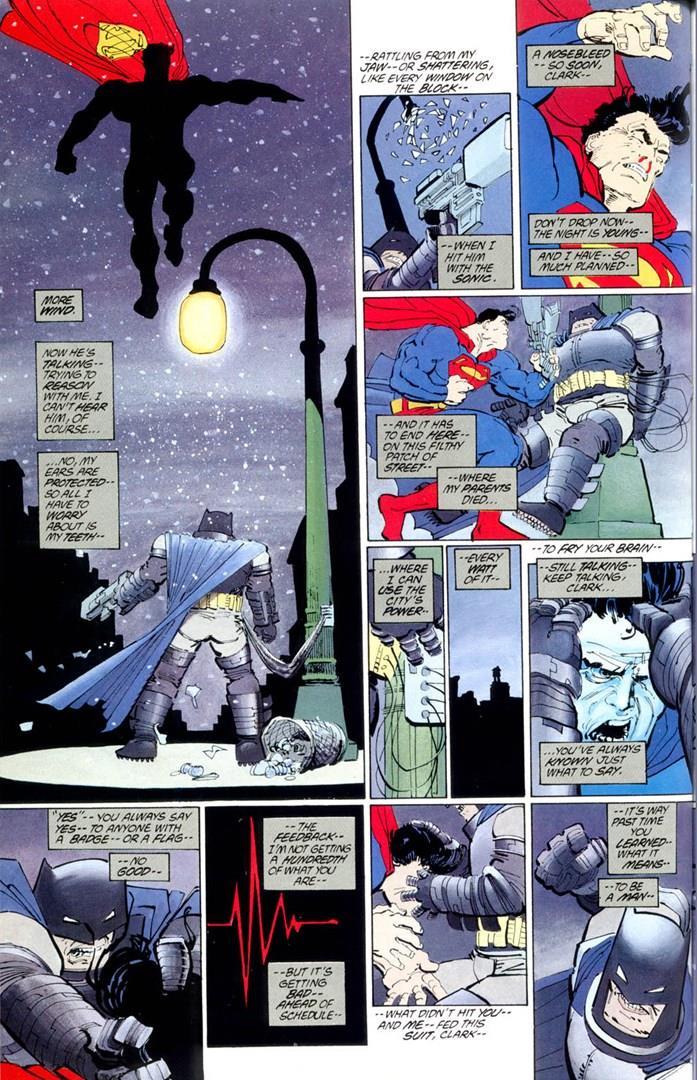 Tavola de Il Ritorno del Cavaliere Oscuro, nella quale Superman lotta con Batman
