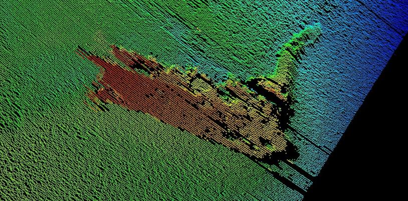 L'immagine sonar registrata nelle profondità di Loch Ness