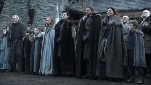 Gli Stark riuniti per accogliere Re Robert