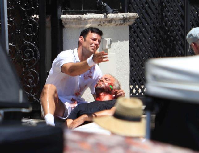 Il cantante Ricky Martin sul set