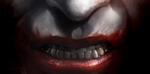 Primo piano disegnato del sorriso malato del Joker