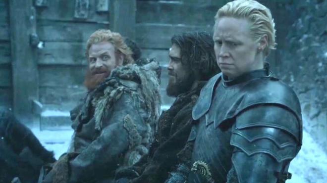 Brienne disgustata dalle attenzioni del bruto Tormund