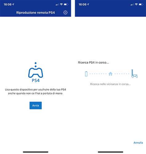 Screen dall'app PS4 Remote Play di Sony