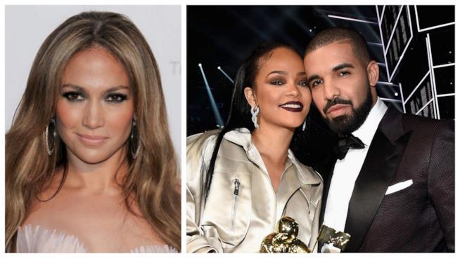 Primo piano di Rihanna, Drake e Jennifer Lopez