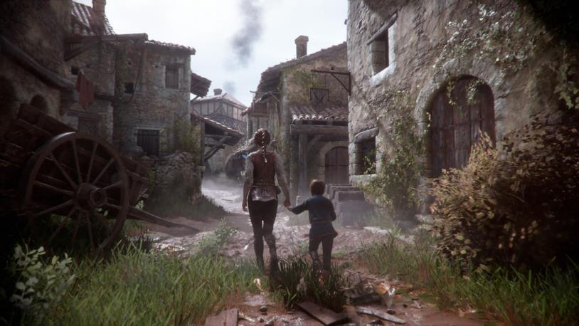 Un'immagine di gioco per i due protagonisti di A Plague Tale: Innocence