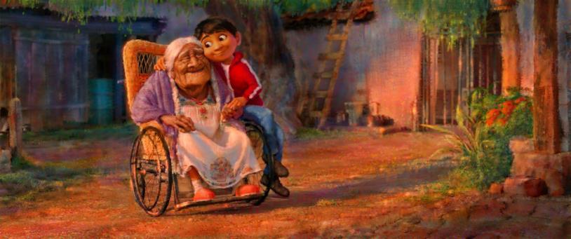 Miguel insieme alla bis-bis-nonna Imelda, costretta su una carrozzina