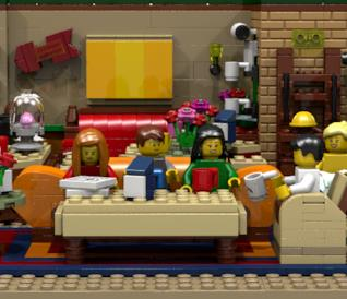 Primo piano del set Central Perk Coffee di Friends costruito coi LEGO