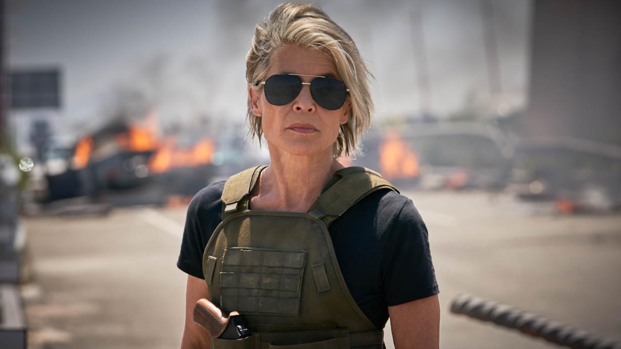 L'attrice Linda Hamilton nel ruolo di Sarah Connor nel film Terminator: Dark Fate