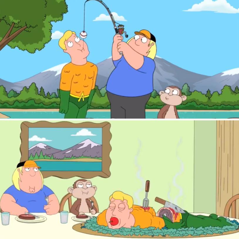 Chris e la sua amica scimmia pescano Aquaman e se lo mangiano