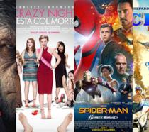 I poster dei film: The War: Il Pianeta delle Scimmie, Crazy Night, Spider-Man: Homecoming, CHIPs