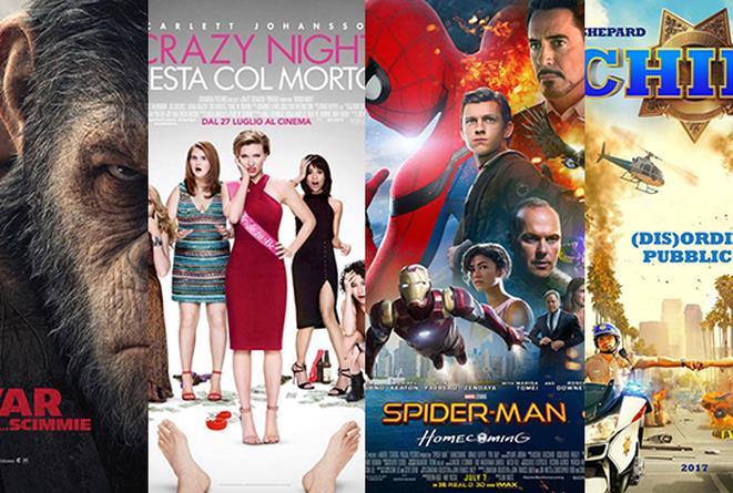 I poster dei film: The War: Il Pianeta delle Scimmie, Crazy Night, Spider-Man: Homecoming, CHIPs