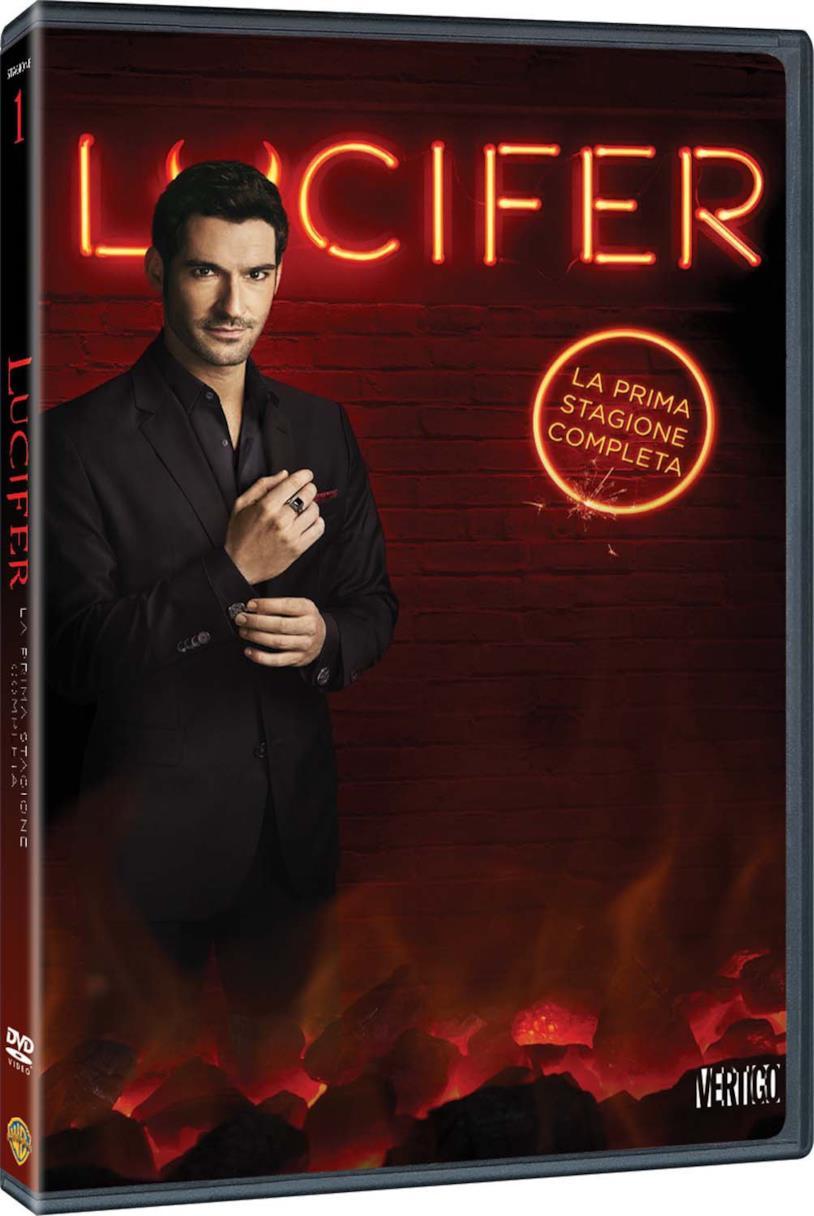 Tom Ellis nei panni di Lucifer nella copertina del cofanetto DVD