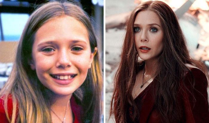Elizabeth Olsen (Scarlet Witch) da bambina e nei film Marvel