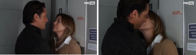 Meredith e Nathan nel bagno dell'aereo