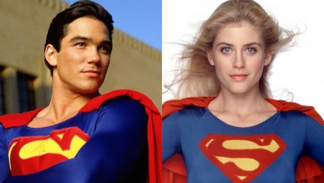 Dean Cain nel ruolo di Superman ed Helen Slater in costume da Supergirl