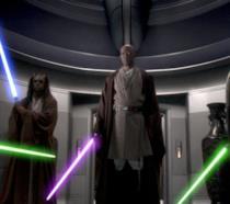Alcuni Jedi, tra cui Mace Windu, con le spade laser in mano