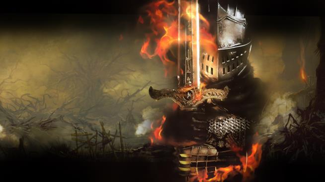 Un guerriero di Dark Souls in uno splendido artwork