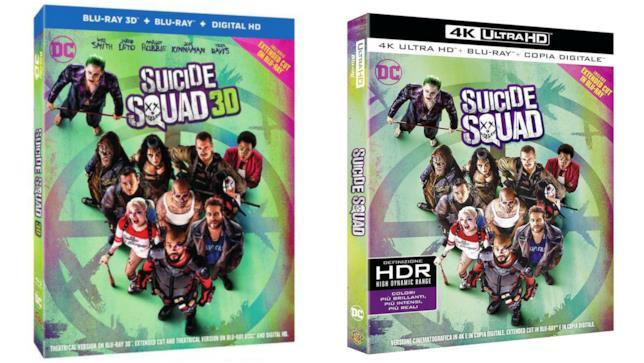 Le confezioni dell'edizione in Blu-ray 3D e 4K Ultra HD di Suicide Squad
