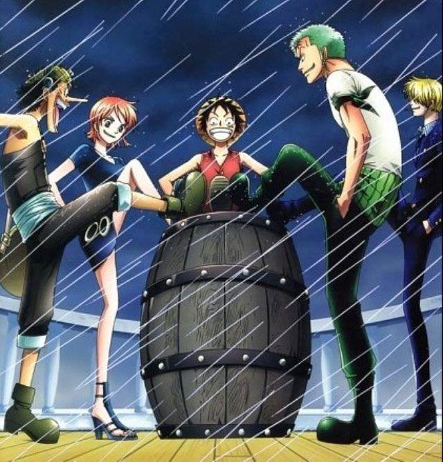 One Piece la ciurma di Rufy all'entrata della Rotta Maggiore