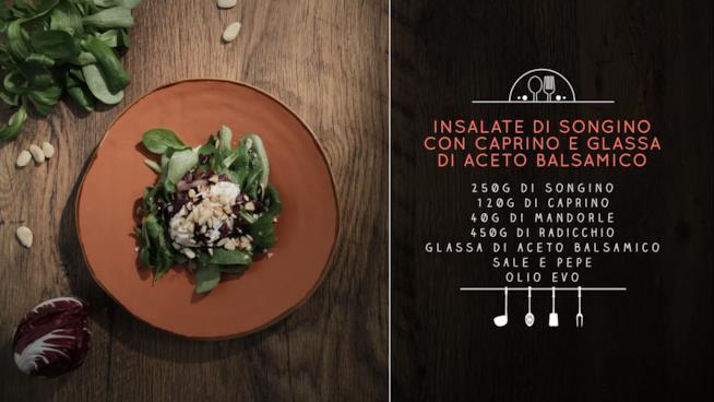 La ricetta dell'insalata di songino, caprino e glassa di aceto balsamico