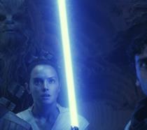 Chewbacca, Finn, Rey e Poe Dameron in Star Wars: L'ascesa di Skywalker