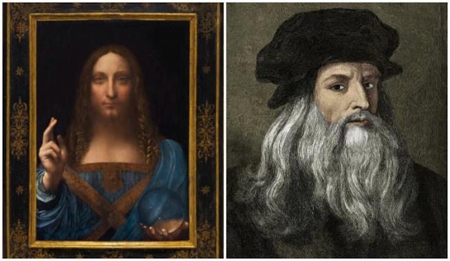 Un collage tra Leonardo da Vinci e Salvator Mundi