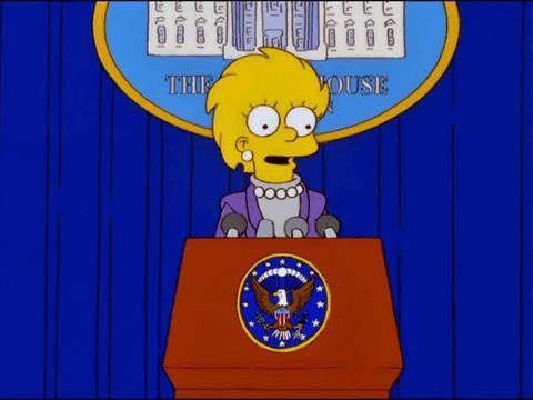 Lisa Simpson fa il suo primo discorso come Presidente degli Stati Uniti