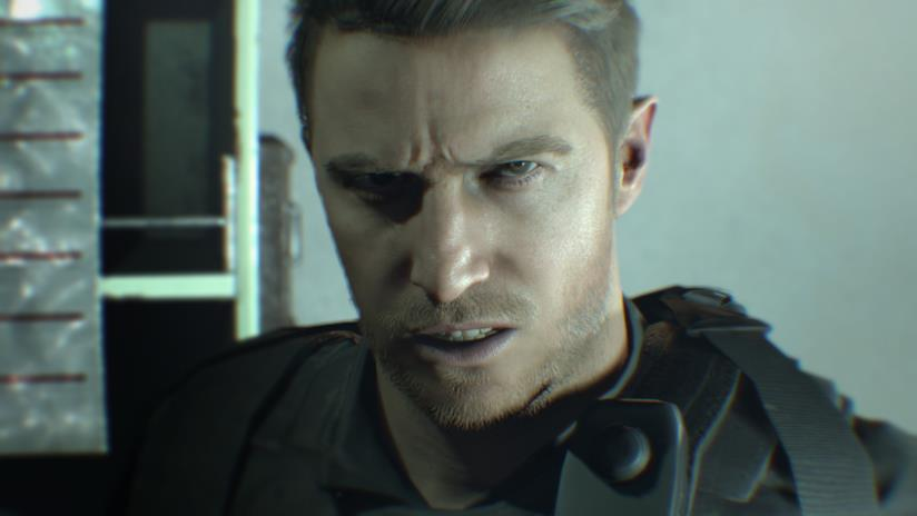 Un primo piano di Chris Redfield in Resident Evil 7