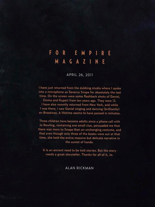 La lettera scritta dal compianto Alan Rickman