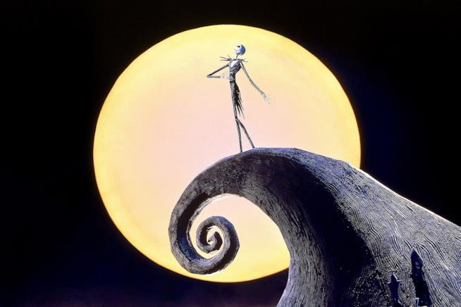 Jack in Nightmare Before Christmas con lo sfondo della luna