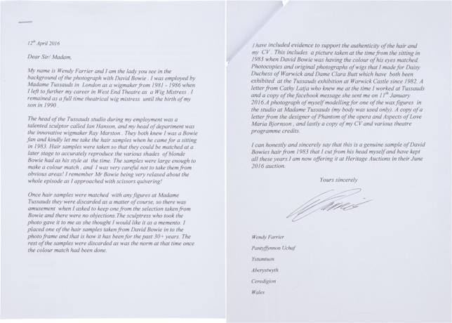 La lettera di Wendy Farrier alla Heritage Auctions