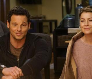 Alex e Meredith in una scena di Grey's Anatomy